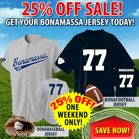 BonaBaseball and Bonafootball Jerseys 25% off, one weekend only! Save now!