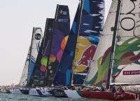 Fleet racing on day 2 of the Extreme Sailing Series Asia at The Wave, Muscat.